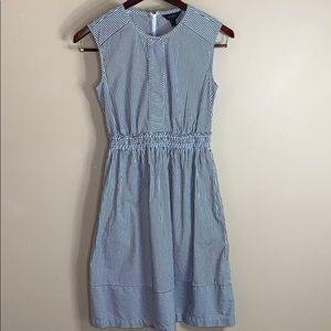 J crew gray and white stripe sleeveless dress